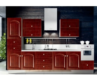 red modern pvc kitchen cabinet design