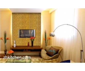 Decorative interior wall paneling for TV background design