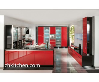 Red bright color acrylic kitchen cabinet design