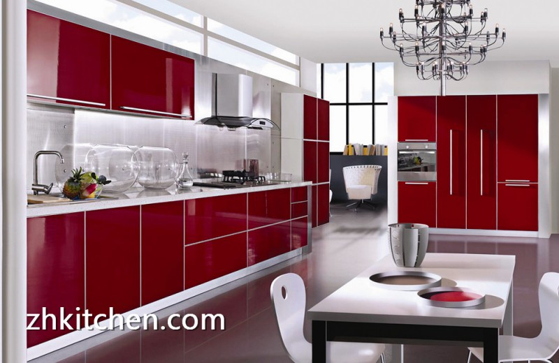 Lower Cost Of Gloss Red Acrylic Kitchen Cabinet
