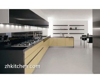 Glossy white and Grey affordable kitchen cabinets