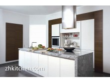 High gloss white contemporary kitchen cabinets