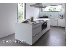 High gloss white prefab kitchen cabinets