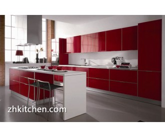 Red glossy prefabricated kitchen cabinets wholesale