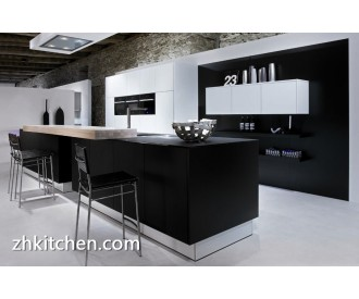 Black and white lacquer mdf kitchen cabinet