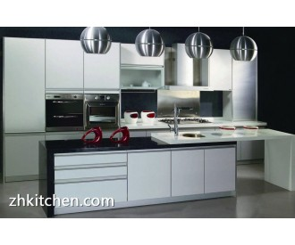 Glossy white lacquer painted kitchen cabinets