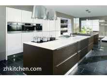 High gloss design white Italian kitchen cabinets