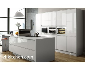 High gloss milky white premade kitchen cabinets