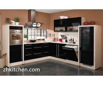 Black glossy kitchen furniture Guangzhou