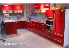 Customized red UV kitchen cabinet
