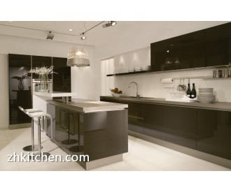 Glossy black baked kitchen units wholesale
