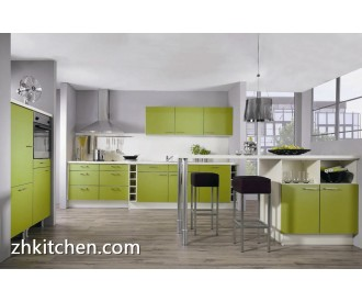 Green color designs of kitchen hanging cabinets