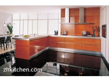 High gloss wood grain complete kitchen cabinet