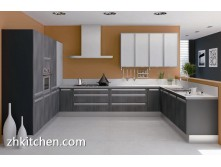 Wooden grain MDF kitchen cabinet design