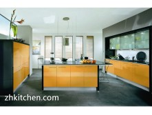 Yellow glossy MDF kitchen cabinets UV coating