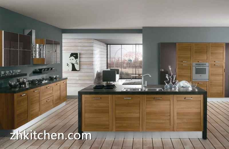 Wooden Grain Pvc Furniture Kitchen Cabinet