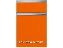 Orange solid door kitchen cabinet
