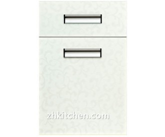 Acrylic kitchen cupboard doors in high glossy surface treatment