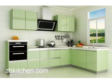 green Glossy Kitchen Cabinet Design
