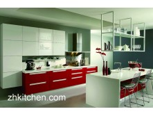 Red High Gloss Kitchen Cabinets