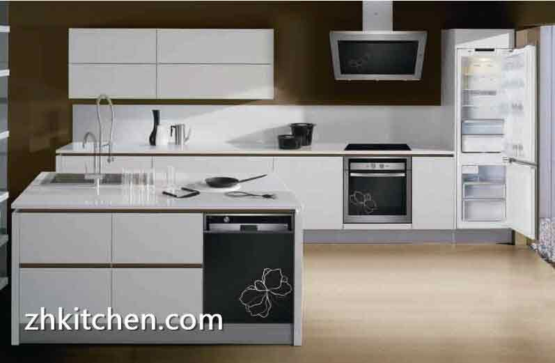 High Gloss White Acrylic Kitchen Cabinets Design
