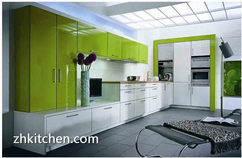 Fresh Green Acrylic Kitchen Cabinets Design Made In China