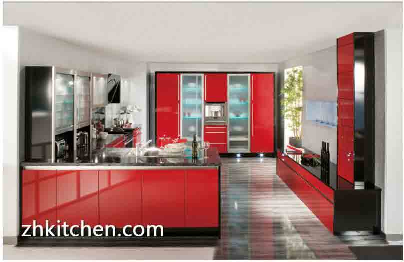 Bright Red Color Acrylic Kitchen Cabinets Design