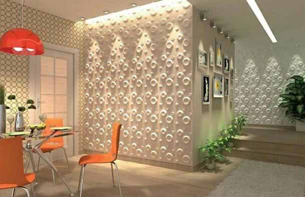 Add decorative 3D textured wall panels to modern wall design