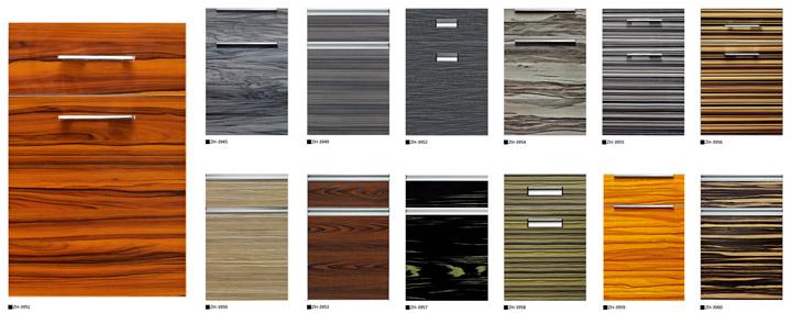 Wooden Grain Cheap Cabinet Doors Zhkitchen