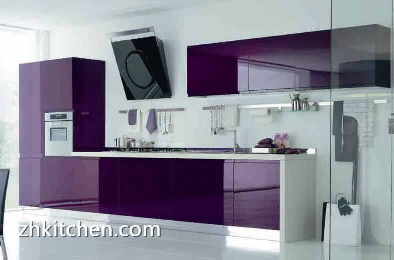 Modern Purple Color Design Acrylic Kitchen Cabinets